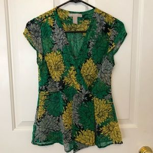 Banana Republic faux wrap sheer floral blouse, SP
